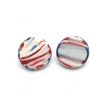 Red White & Blue Marbled Stud Earrings