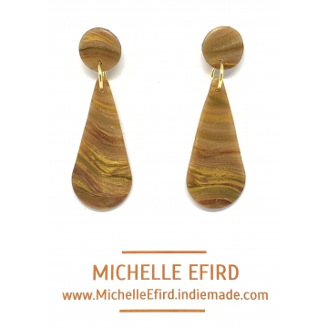 Marbled Bronze/Copper/Gold Earrings