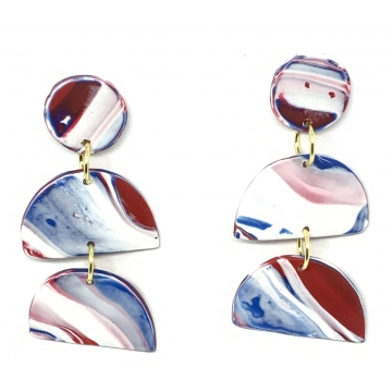 Red White & Blue Marbled Earrings